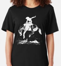 Rodeo Bucking Horse Cowboy Riding Stallion Slim Fit T-Shirt