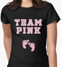 Team Pink Girl Baby Shower Gender Reveal Party Cute Funny Gift Women's Fitted T-Shirt