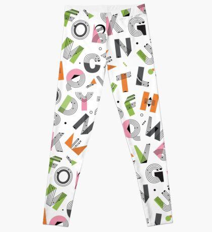 Alphabet seamless pattern. Memphis Design Leggings