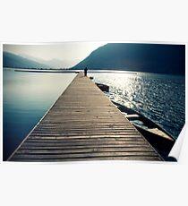 Wooden lake pier Poster