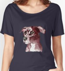 Monochromatic Pit Bull Dog Watercolor Painting Women's Relaxed Fit T-Shirt