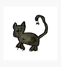 child's drawing of a black cat Photographic Print