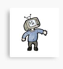 cartoon tv head man Canvas Print
