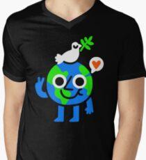 Weltfrieden & amp; Liebe T-Shirt mit V-Ausschnitt