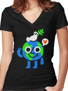 World Peace & Love Women's Fitted V-Neck T-Shirt