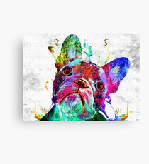 French Bulldog Grunge Canvas Print