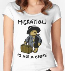 Migration is not a crime Women's Fitted Scoop T-Shirt
