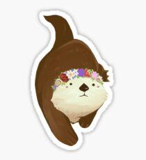Flower Crown Otter Sticker