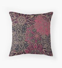 Brown pink Complicated Mandala. Tribal style. Throw Pillow