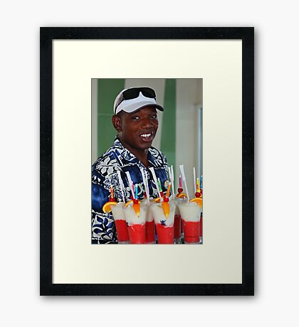 Warm smile and colourful drinks Framed Print