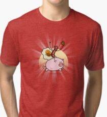Bacon & Egg Ride Pig Tri-blend T-Shirt
