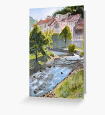 Lodeve from the bridge by John Rees Greeting Card