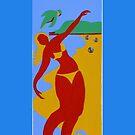 Gold Coast Red Bikini Girl by Virginia McGowan