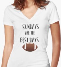 Football- Sundays Are The Best Days Women's Fitted V-Neck T-Shirt