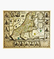 Rare old map of the Netherlands in the shape of a lion from 1600 Photographic Print