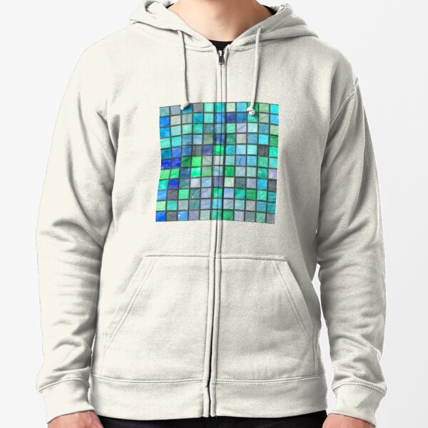 Tile Squares Design by Julie Everhart Zipped Hoodie