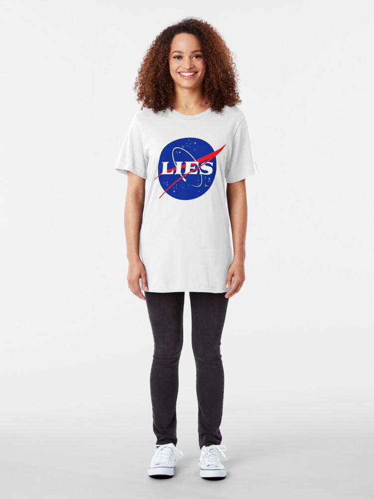 Alternate view of NASA LIES LOGO Slim Fit T-Shirt