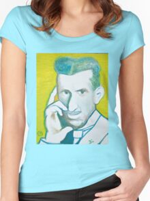The Nikolai Tesla in green blue in oil painting! Women's Fitted Scoop T-Shirt