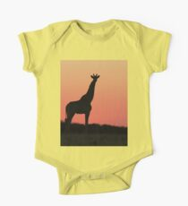 Giraffe Silhouette - Pink African Sunset One Piece - Short Sleeve