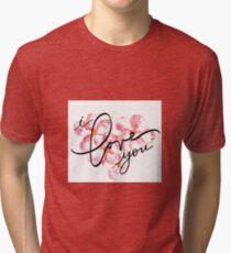 I Love You - Plumeria Love Hawaii Tri-blend T-Shirt