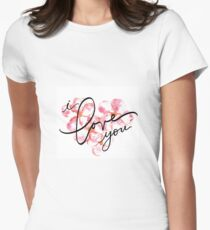 I Love You - Plumeria Love Hawaii Womens Fitted T-Shirt