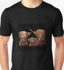 Scottish Highland Cows 'WE 3 COOS on BLACK' by Shirley MacArthur Unisex T-Shirt