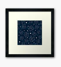 Seamless pattern with outlines of monsters Framed Print