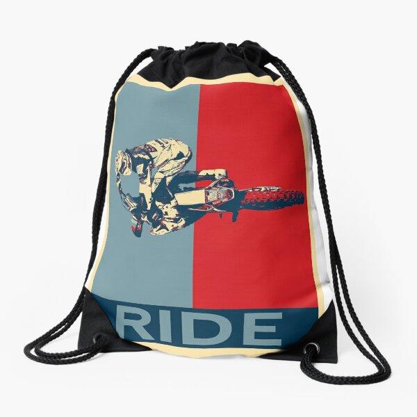 Ride - motocross, MX, enduro, dirt bike riding Drawstring Bag