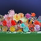 Flower-box with glass flowers by Arie Koene