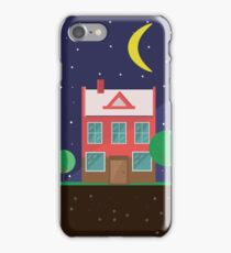 Vector illustration: colorful houses at night. Suburbs landscape. Flat design. Tenement houses iPhone Case/Skin