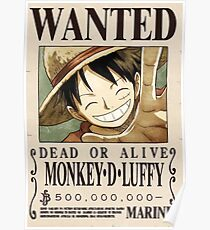 WANTED MONKEY D LUFFY Poster