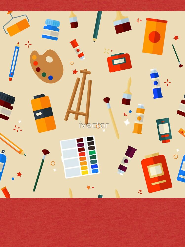 Werkzeuge und Materialien für Kreativität und Malerei Seamless Pattern von ivector