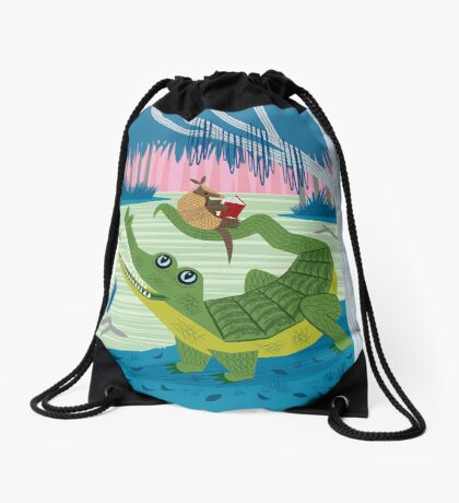 The Alligator and The Armadillo Drawstring Bag