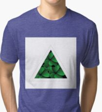 green flowers in triangle Tri-blend T-Shirt