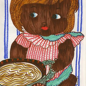 African Doll Drinking Coffee by chippychowmein