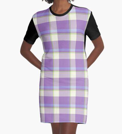 Lavender Tartan Design by Julie Everhart Graphic T-Shirt Dress