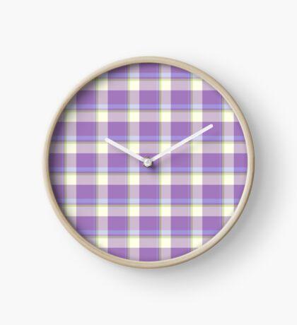 Lavender Tartan Design by Julie Everhart Clock
