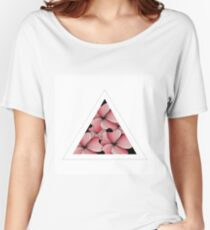 pink flowers in triangle Women's Relaxed Fit T-Shirt