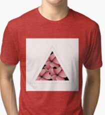 pink flowers in triangle Tri-blend T-Shirt