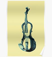Drawing of electric violin. Illustration.  Poster