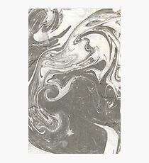 White Black Water Marble Swirl Abstract Design Photographic Print