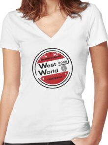 Westworld Retro Logo Round Women's Fitted V-Neck T-Shirt