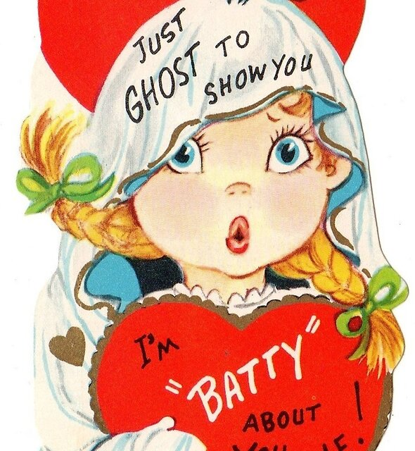 Vintage Cute Ghost Girl and Baby Bat Valentines Day Card by VintageBats