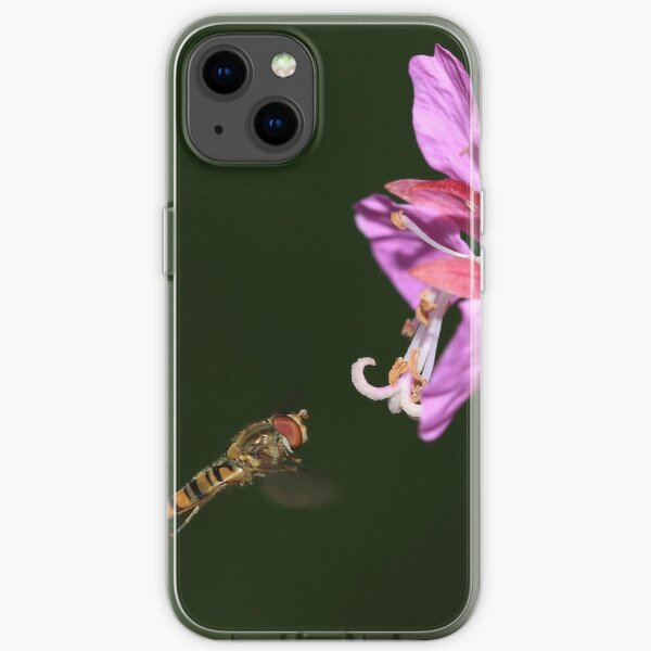 Hoverfly in flight iPhone Soft Case