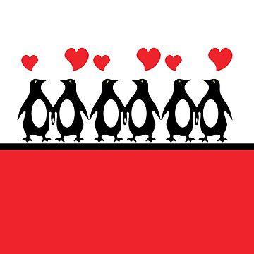 Penguins in Love Print by Meowkittykat