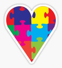 Autism Awareness Puzzle Pieces Heart Sticker