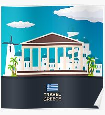 Travel to Greece skyline Poster