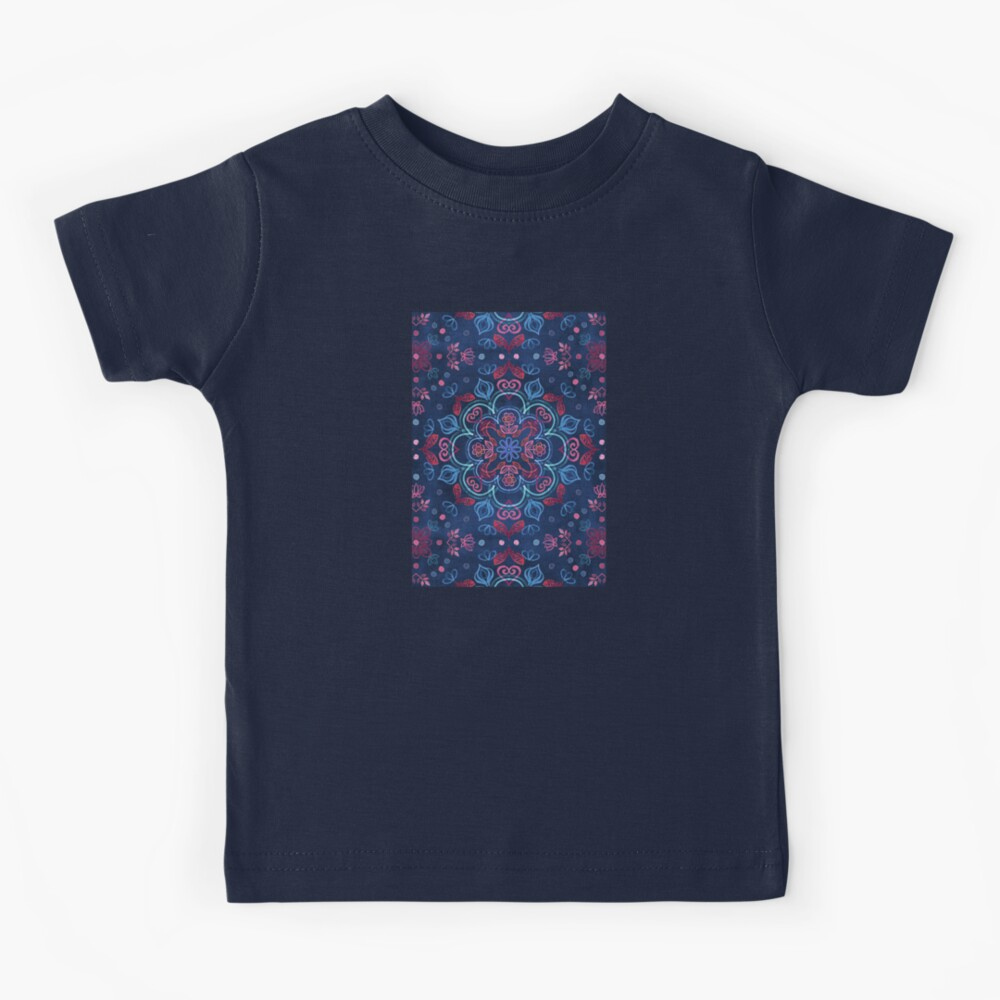 Cherry Red & Navy Blue Watercolor Floral Pattern Kids T-Shirt
