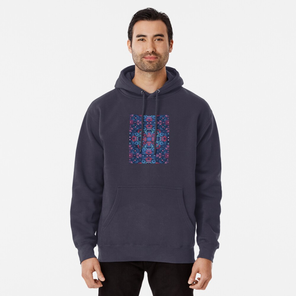Cherry Red & Navy Blue Watercolor Floral Pattern Pullover Hoodie