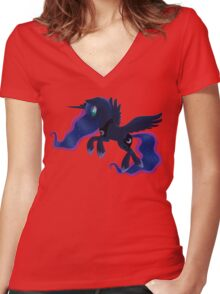My little Pony: Friendship is Magic - Princess Luna - Night Flight Women's Fitted V-Neck T-Shirt